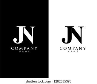 jn/nj initial company name logo template vector