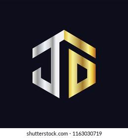 JO Initial letter hexagonal logo vector