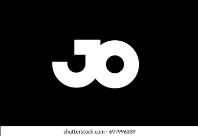 JO J O letter logo combination alphabet vector creative company icon design template modern  black white bold