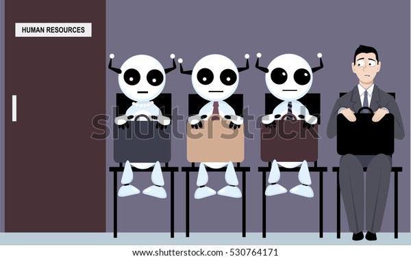A job applicant sitting in a line to human research department among robots, EPS 8 vector illustration