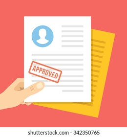 Job application approved. Hand holds job application with approval stamp on it. Modern flat design concept for web banners, web sites, infographic. Flat vector illustration isolated on red background