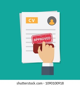 Job application approved,  people hand stamping approved word on job application