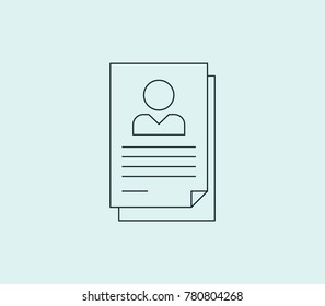 Job application icon line isolated on clean background. Cv design concept drawing icon line in modern style. Vector illustration for your web site mobile logo app UI design.