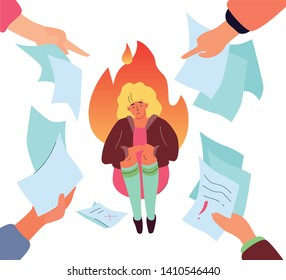 Job burnout - modern colorful flat design style illustration on white background. A composition with a sad tired woman having too much paper work, fingers pointing at her. Psychological problems