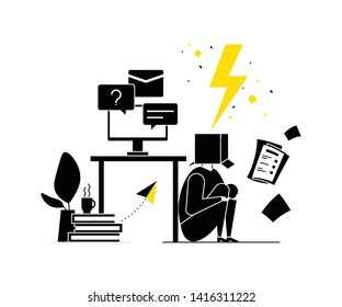 Job burnout - modern flat design style illustration. Black, white and yellow composition with a tired office worker with a box on his head, having too much work, hiding under the table. Stress at work
