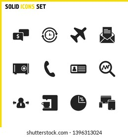 Job business icons set with aircraft, loop statistic and electric machine elements. Set of job business icons and coffeemaker concept. Editable vector elements for logo app UI design.