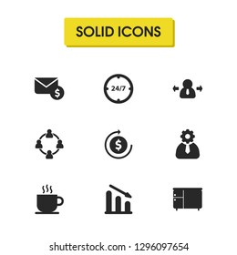 Job business icons set with decline graph, setting, nightstand elements. Set of job business icons and teamwork concept. Editable vector elements for logo app UI design.
