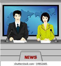 Job Character on blue background - smiling young  Asian anchorwoman and anchorman who is announcing with paper script on the news desk in the TV studio : live broadcasts for viewers