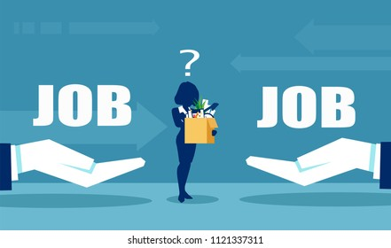 Job choice concept. Vector of a business woman having doubts about job offerings