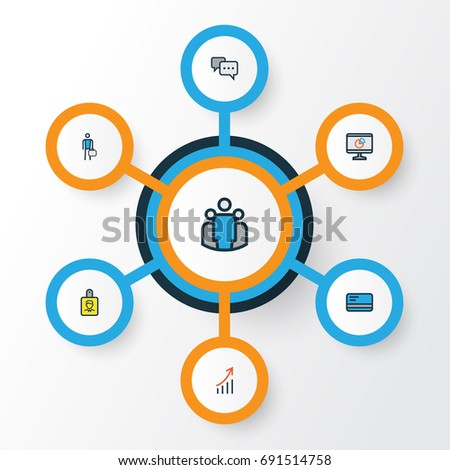 Job Colorful Outline Icons Set Collection Stock Vector