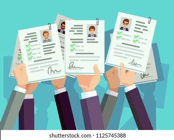 Job competition. Candidates hold cv resume. Recruitment and human resource vector concept. Illustration of resume candidate illustration