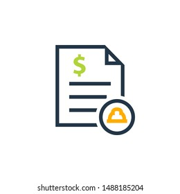 Job cost invoice icon. Clipart image isolated on white background