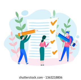 Job done, tasks scheduling, planing business, checklist for web page, pencil, checklist on a clipboard paper, Successful completion of business tasks.  Work management and stack resolve, Vector