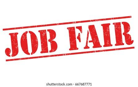 Job fair sign or stamp on white background, vector illustration