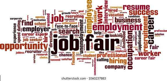Job fair word cloud concept. Vector illustration