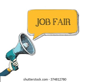 JOB FAIR word in speech bubble with sketch drawing style