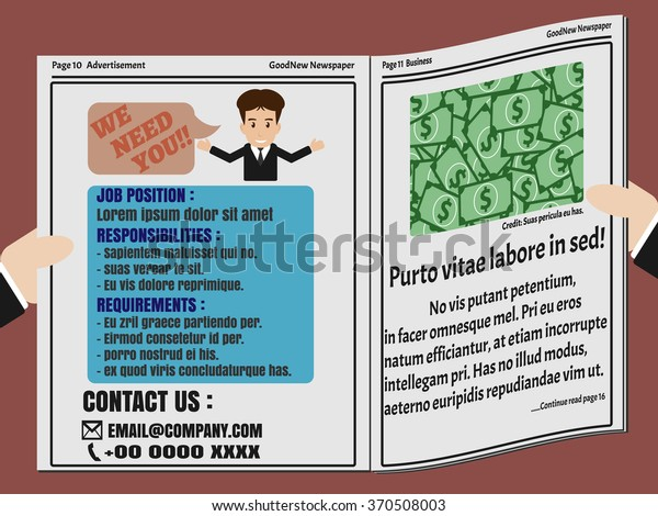 Job Finder Advertisement On Newspaper Hand Stock Vector