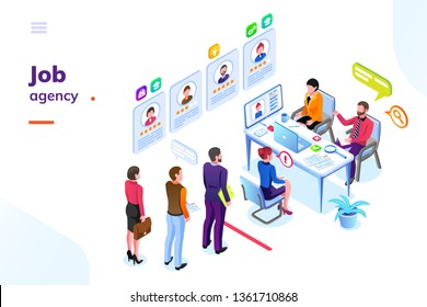 Job or hiring agency isometric view. Hire or recruitment business room with people in queue. Man and woman looking for work at office. Employer or applicant, contender or challenger interview