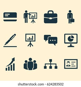 Job Icon Set. Collection Of Increasing, Pen, Work Man And Other Job Icon Elements. Also Includes Symbols Such As Chatting, Business Chart And Marketing Elements.