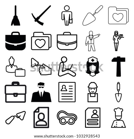 job icons set 25 editable filled stock vector royalty free Job Resume Examples job icons set of 25 editable filled and outline job icons such as broom