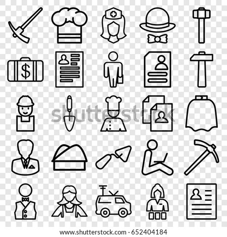 job icons set set 25 job stock vector royalty free 652404184 Lead Line Cook Resume job icons set set of 25 job outline icons such as hairdresser peignoir casino