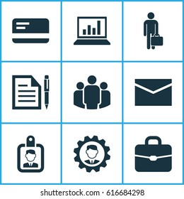 Job Icons Set. Collection Of Diagram, Customer Contract, Id Badge And Other Job Icon Elements. Also Includes Symbols Such As Briefcase, Customer Statistics And Unity Elements.