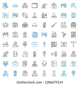 job icons set. Collection of job with job search, man, window cleaner, user, suit, pilot, salesman, skills, biography, folder, desk chair, curriculum. Editable and scalable icons.