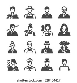 Job icons set. Included the icons as occupations, avatar, profile, user, careers, jobs and more.