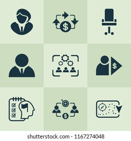 Job icons set with investor, business goal, cooperation and other capitalist elements. Isolated vector illustration job icons.