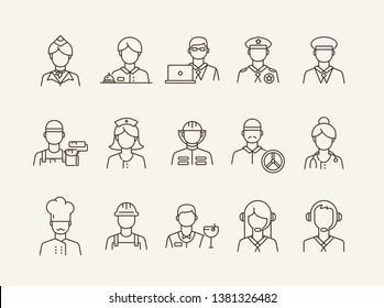Job icons. Set of line icons on white background. Call center operator, manager, policeman. Profession concept. Vector illustration can be used for topics like career, service, occupation