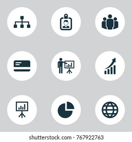 Job icons set with pie bar, presenting man, payment and other earth elements. Isolated vector illustration job icons.