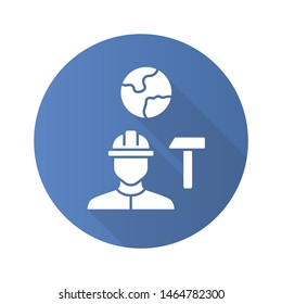 Job for immigrants blue flat design long shadow glyph icon. Migrant, refugee employment. Construction worker. Finding work abroad. Hard hat worker, handyman. Vector silhouette illustration