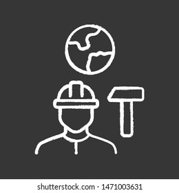 Job for immigrants chalk icon. Migrant, refugee employment. Construction worker. Finding work abroad. Hard hat worker, handyman. Searching for job. Isolated vector chalkboard illustration