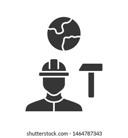Job for immigrants glyph icon. Migrant, refugee employment. Construction worker. Finding work abroad. Hard hat worker, handyman. Silhouette symbol. Negative space. Vector isolated illustration