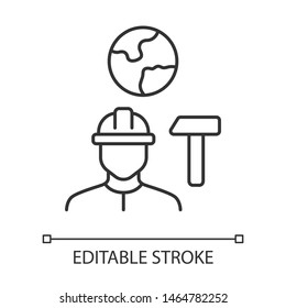 Job for immigrants linear icon. Migrant, refugee employment. Finding work abroad. Hard hat worker, handyman. Thin line illustration. Contour symbol. Vector isolated outline drawing. Editable stroke