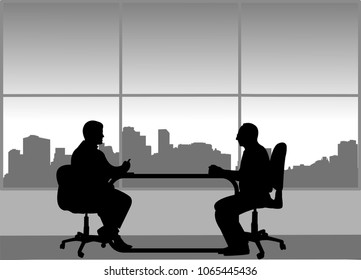 Job interview between the unemployed and businessman in the office, one in the series of similar images silhouette
