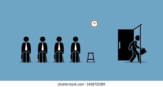Job interview candidates waiting outside the room and a candidate walking through the door. Vector artwork concept depict job recruitment, hiring, employment, job interview, and career opportunity.
