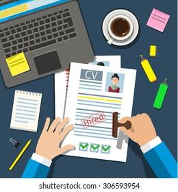 Job interview concept with business cv resume. Flat design, vector illustration.