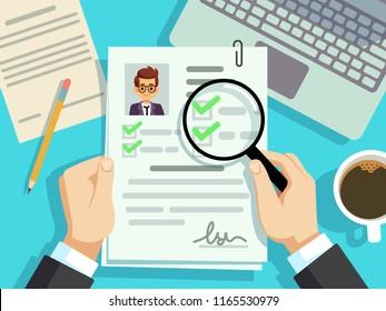 Job interview concept. Businessman cv resume, work evaluation vector background. Cv candidate, job resume, personnel resume illustration