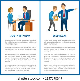 Job interview and dismissal of worker vector poster, text sample. Boss in suit and mustaches dismissing employee with box. Executive manager and bad executor