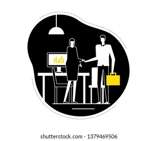 Job interview - flat design style vector illustration. Black, yellow and white composition with a female HR specialist shaking hands with a male candidate in the company office.