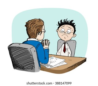 Job Interview, a hand drawn vector doodle illustration of a job seeker being interviewed by the employer, isolated on a simple background (editable).