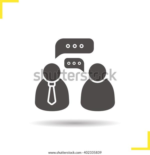 Job Interview Icon Drop Shadow Speakers Stock Vector