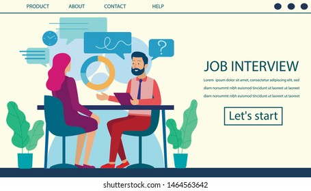 Job Interview Landing Page. Human Resource and Hiring Process Design. Cartoon Flat Man, Boss Chief, HR Manager Interviewing Female Candidate, Woman Work Seeker. Vector Office Interior Illustration