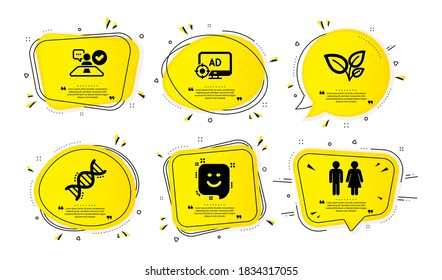Job interview, Leaves and Seo adblock icons simple set. Yellow speech bubbles with dotwork effect. Chemistry dna, Smile and Restroom signs. Accepted worker, Grow plant, Search engine. Vector