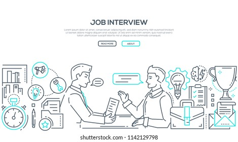 Job interview - modern line design style illustration on white background with place for your text. An image of an HR manager and young specialist talking. High quality banner for a website