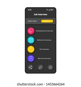 Job interview planning smartphone interface vector template. Mobile app page color design layout. Jobseekers organizer screen. Flat UI for application. Applicants interview planner phone display