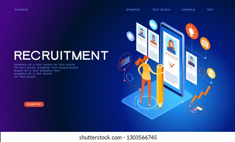 Job interview. Recruitment agency. Concept hiring. 3d vector isometric illustration.