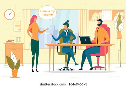 Job Interview, Recruitment Vector Illustration. HR Managers and Confident Recruit Cartoon Characters. Young Woman Discussing Resume with Employers. Vacancy Application, Headhunting Concept