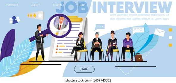 Job Interview, Recruitment. Website, Landing Page. Candidates, Men, Women Waiting Job Interview. Head Hunter, Employment Specialist Analyzing CV Job Applicants. Web Banner, Vector Flat Illustration